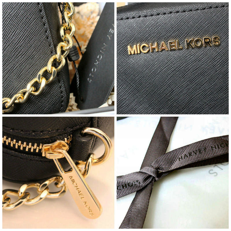 Michael Kors Jet Set Travel Black Leather Cross Body Bag