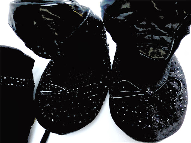 Dune Black Roll up Rhinestone Embellished Ballerina Shoes
